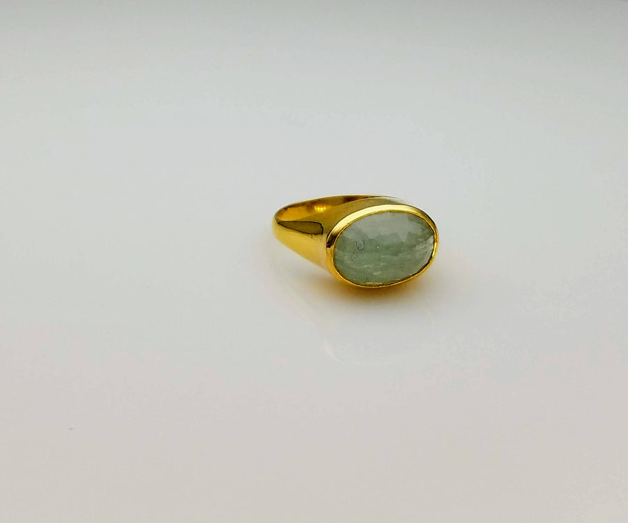 AQUAMARINE DOME 18 KT GOLD RING