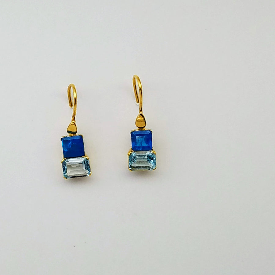 APATITE BLUE TOPAZ GOLD EARRINGS SONIA TONKIN