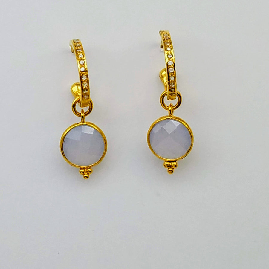DIAMOND CHALCEDONY HOOP GOLD EARRINGS SONIA TONKIN