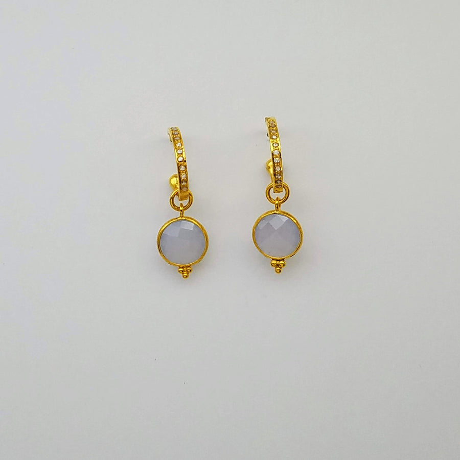 DIAMOND CHALCEDONY HOOP GOLD EARRINGS