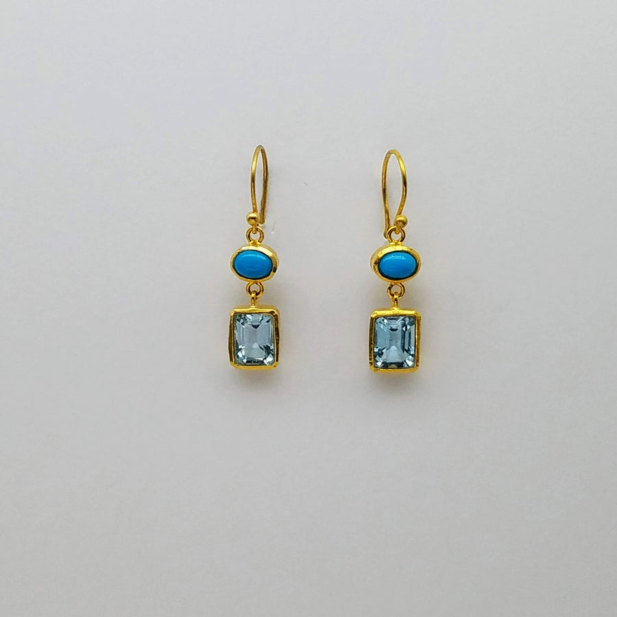 SLEEPING BEAUTY BLUE TOPAZ EARRINGS SONIA TONKIN