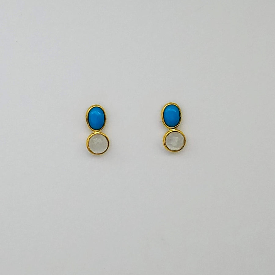 SLEEPING BEAUTY TURQUOISE MOONSTONE GOLD EARRINGS SONIA TONKIN