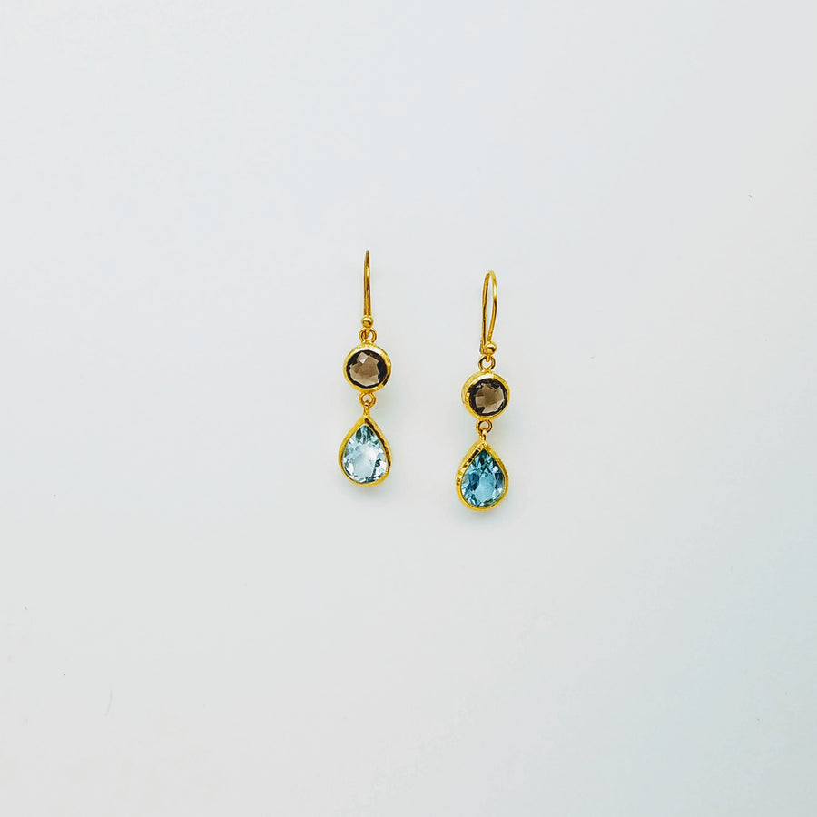 SMOKEY BLUE TOPAZ GOLD EARRINGS