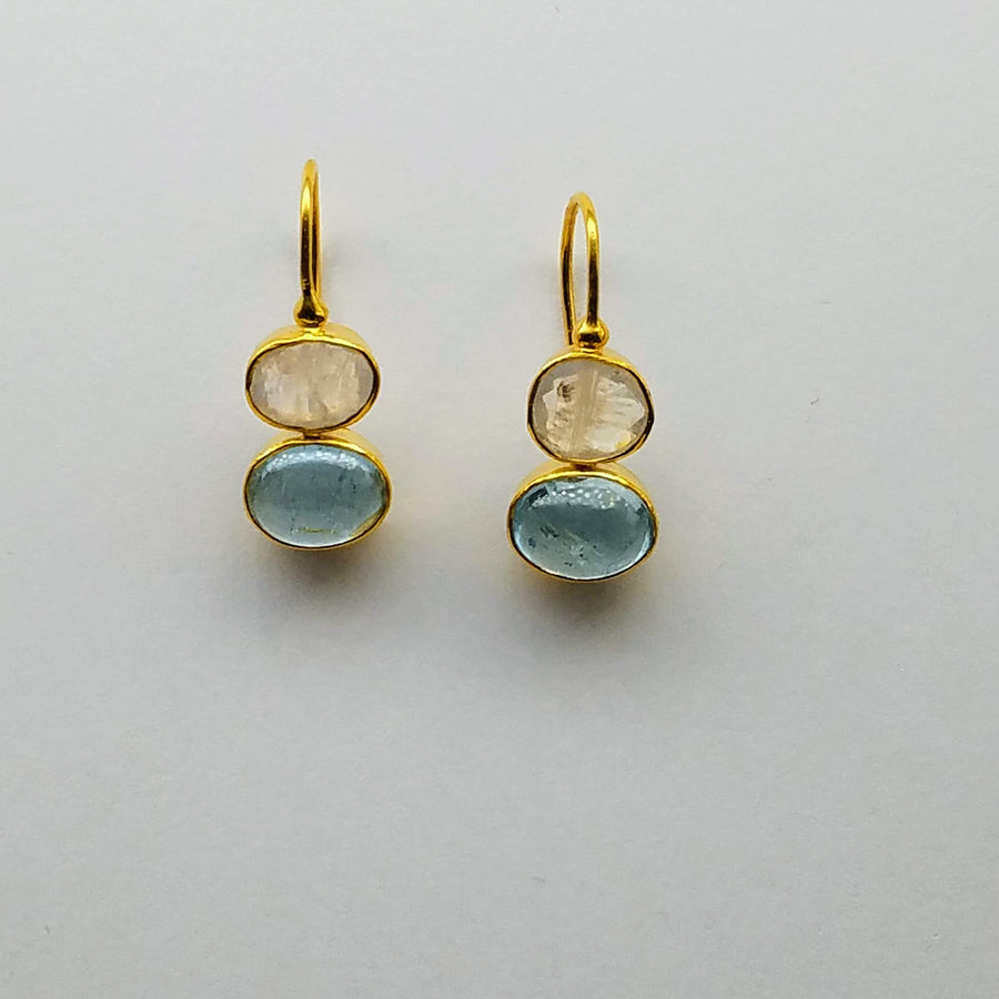 MOONSTONE AQUAMARINE GOLD EARRINGS
