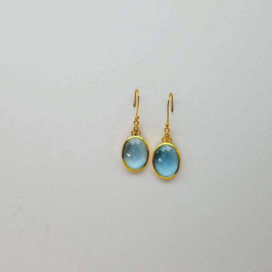 DIAMONDS BLUE TOPAZ EARRINGS