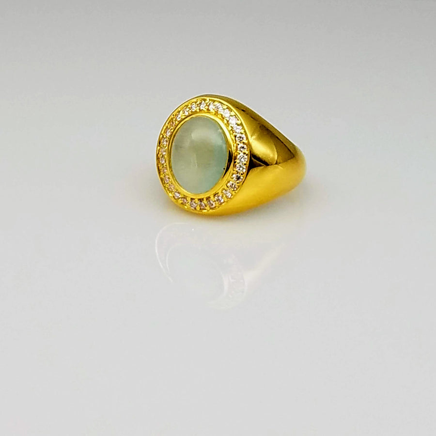 AQUAMARINE DIAMONDS PAVE 18KT GOLD RING