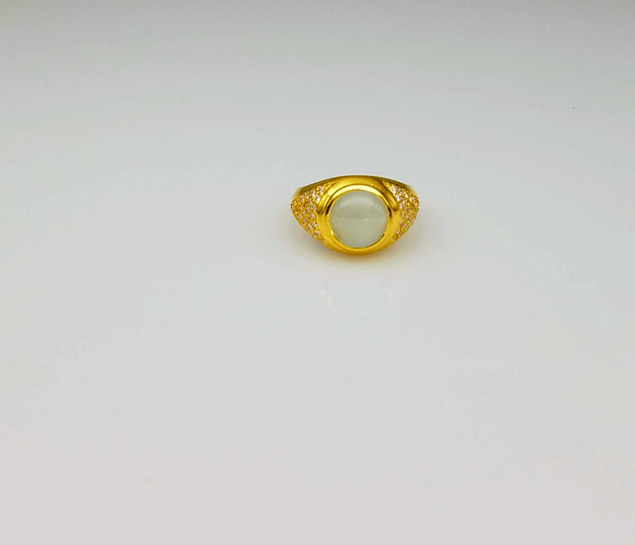 CABOCHON AQUAMARINE DIAMONDS GOLD RING