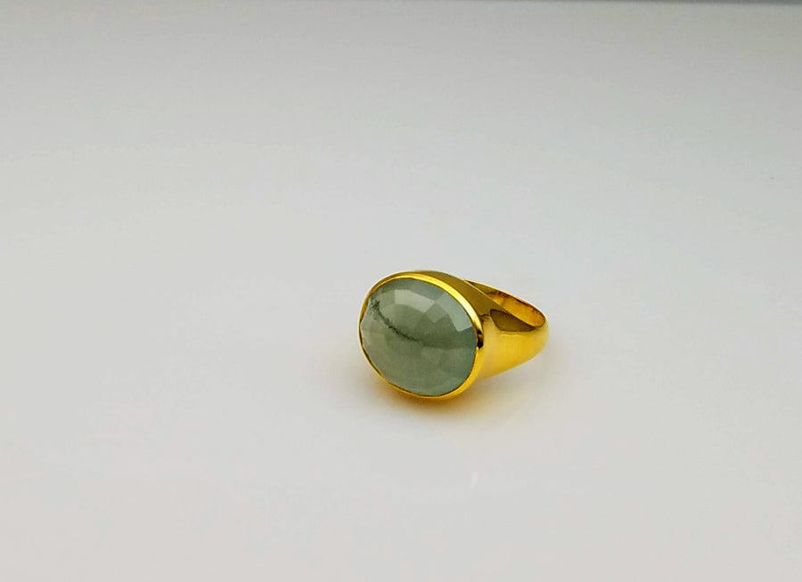 AQUAMARINE LIZ GOLD RING