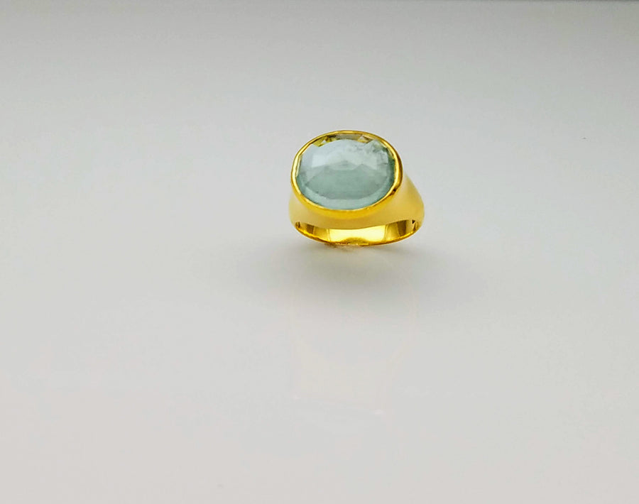 AQUAMARINE LIZ GOLD RING SONIA TONKIN