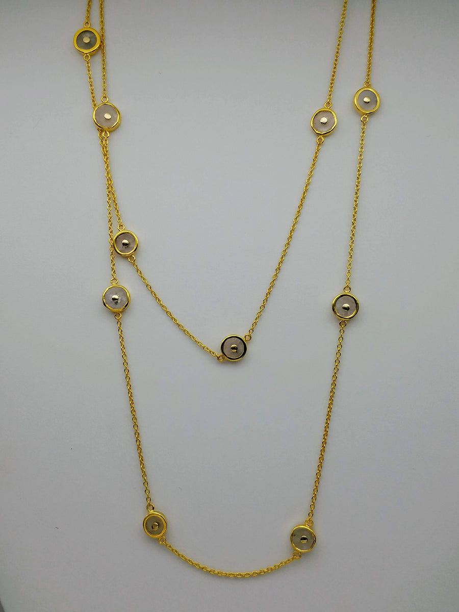 MOONSTONE SUN GOLD NECKLACE