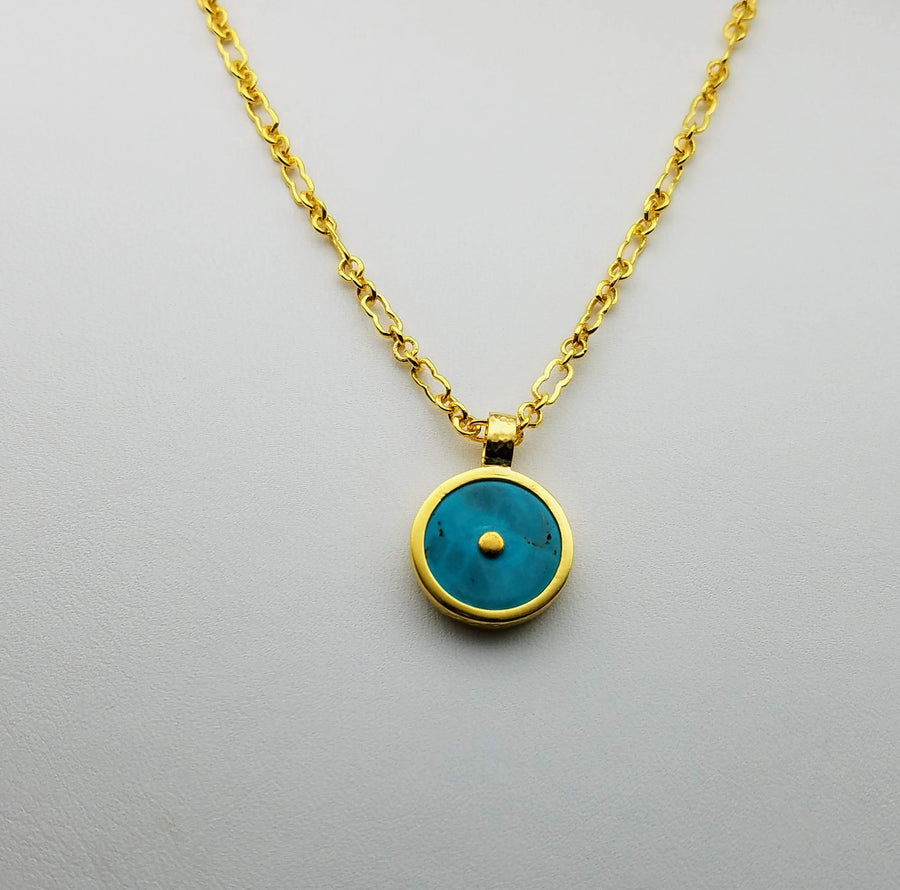 TURQUOISE GOLD SUN SYMBOL NECKLACE SONIA TONKIN