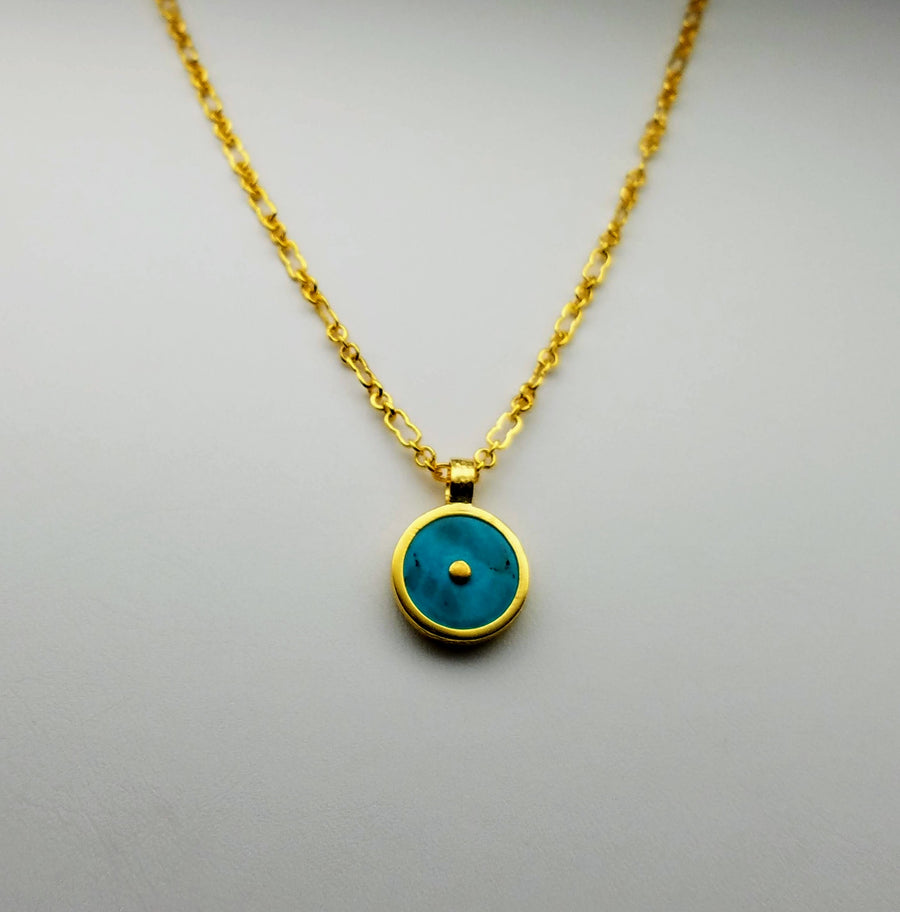 TURQUOISE GOLD SUN SYMBOL NECKLACE
