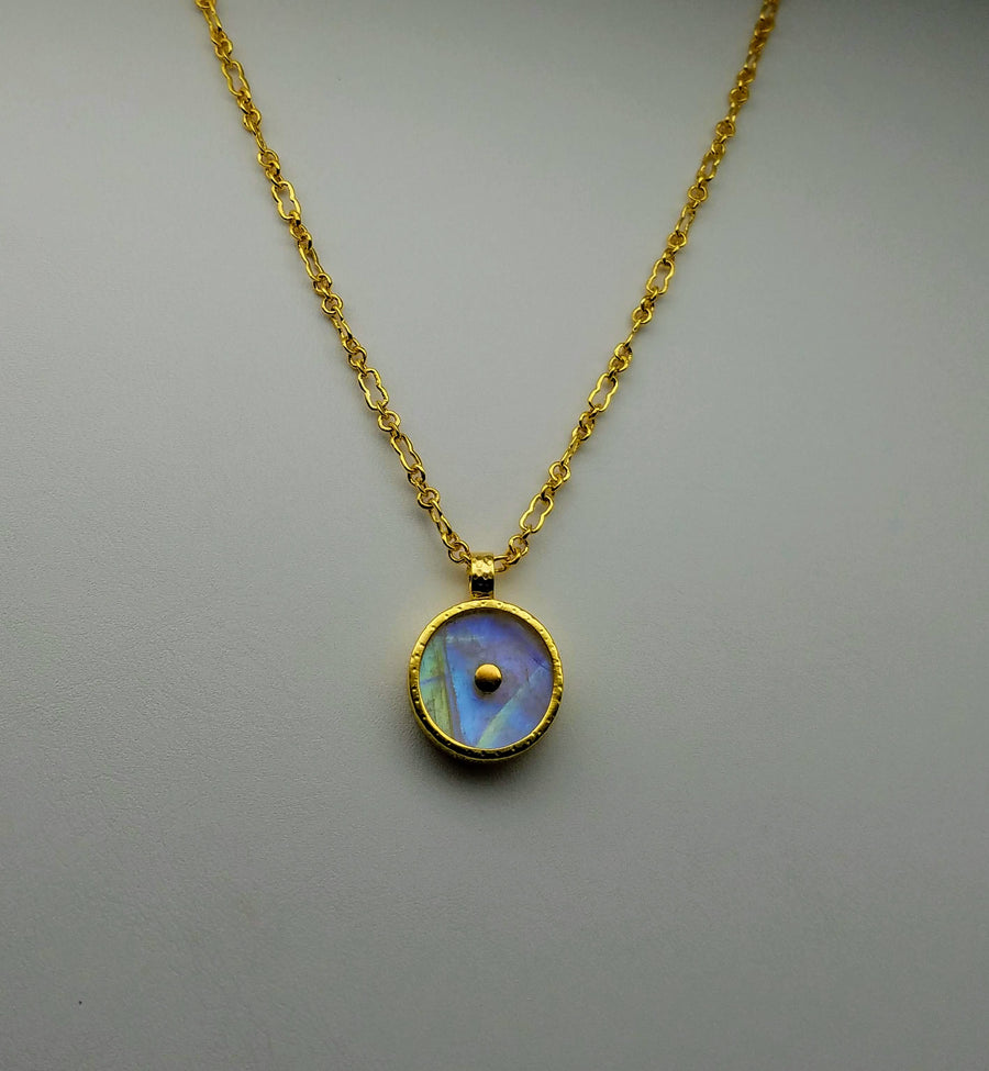 MOONSTONE GOLD SUN SYMBOL NECKLACE