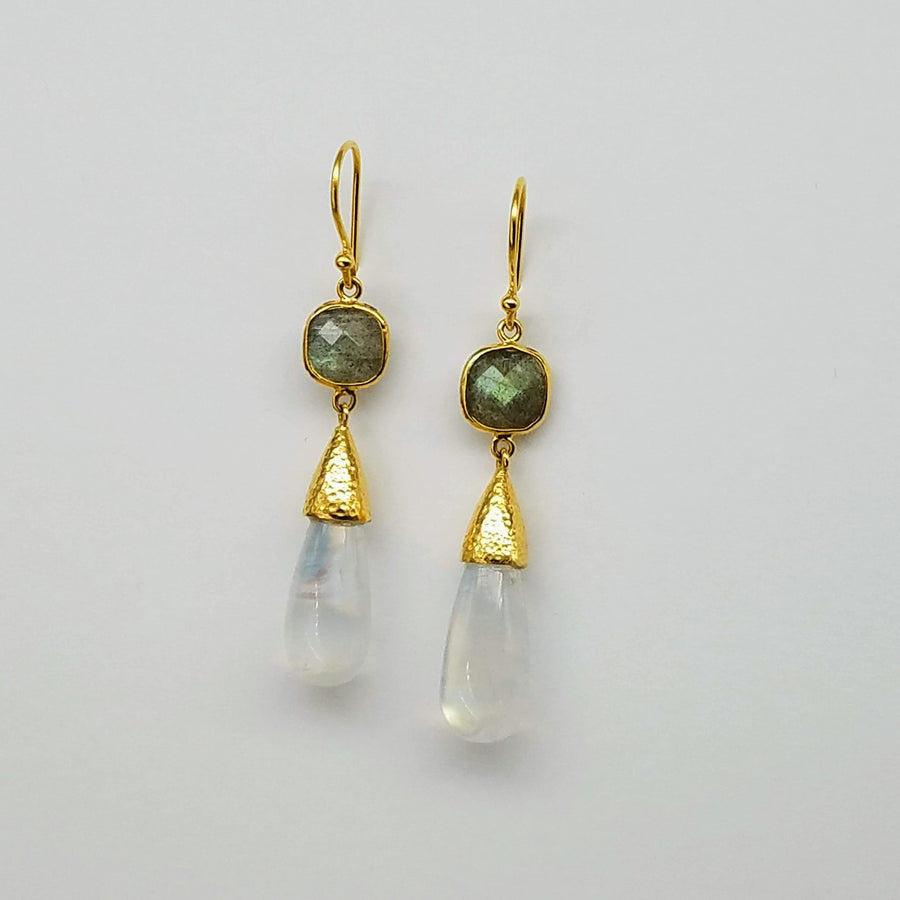 LABRADORITE MOONSTONE SPINEL EARRINGS