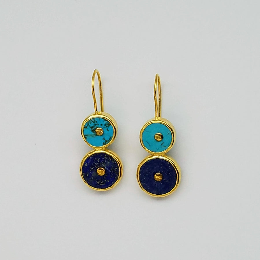 TURQUOISE LAPIZ SUN SYMBOL GOLD EARRINGS