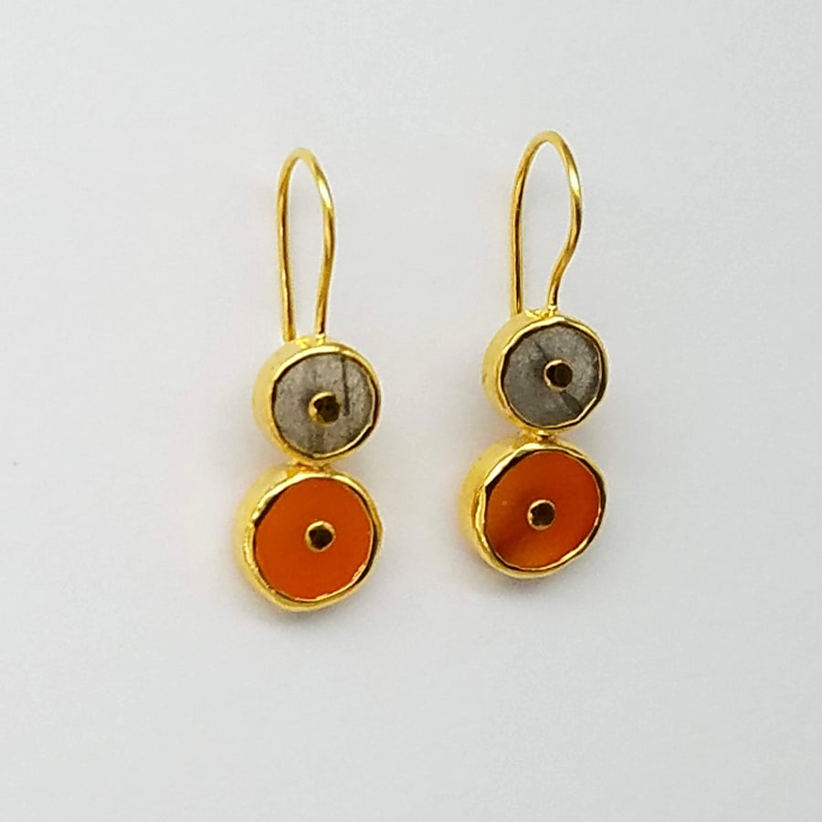 LABRADORITE CARNELIAN GOLD EARRINGS