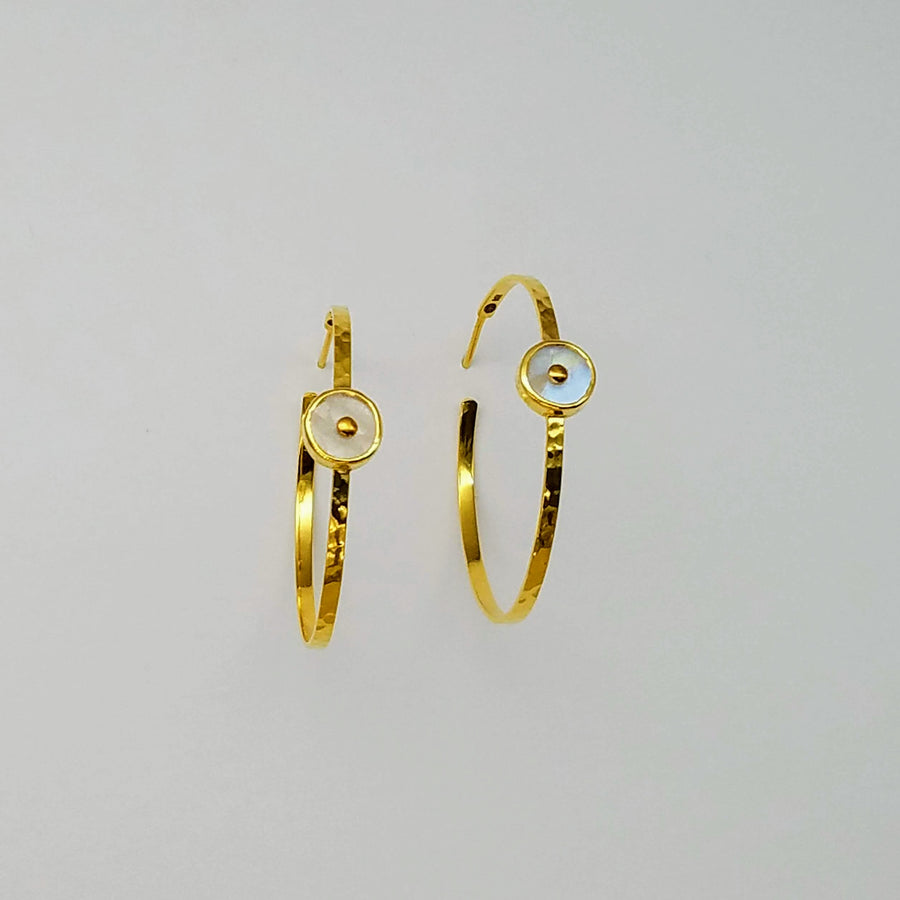 MOONSTONE HOOPS 14KT EARRINGS