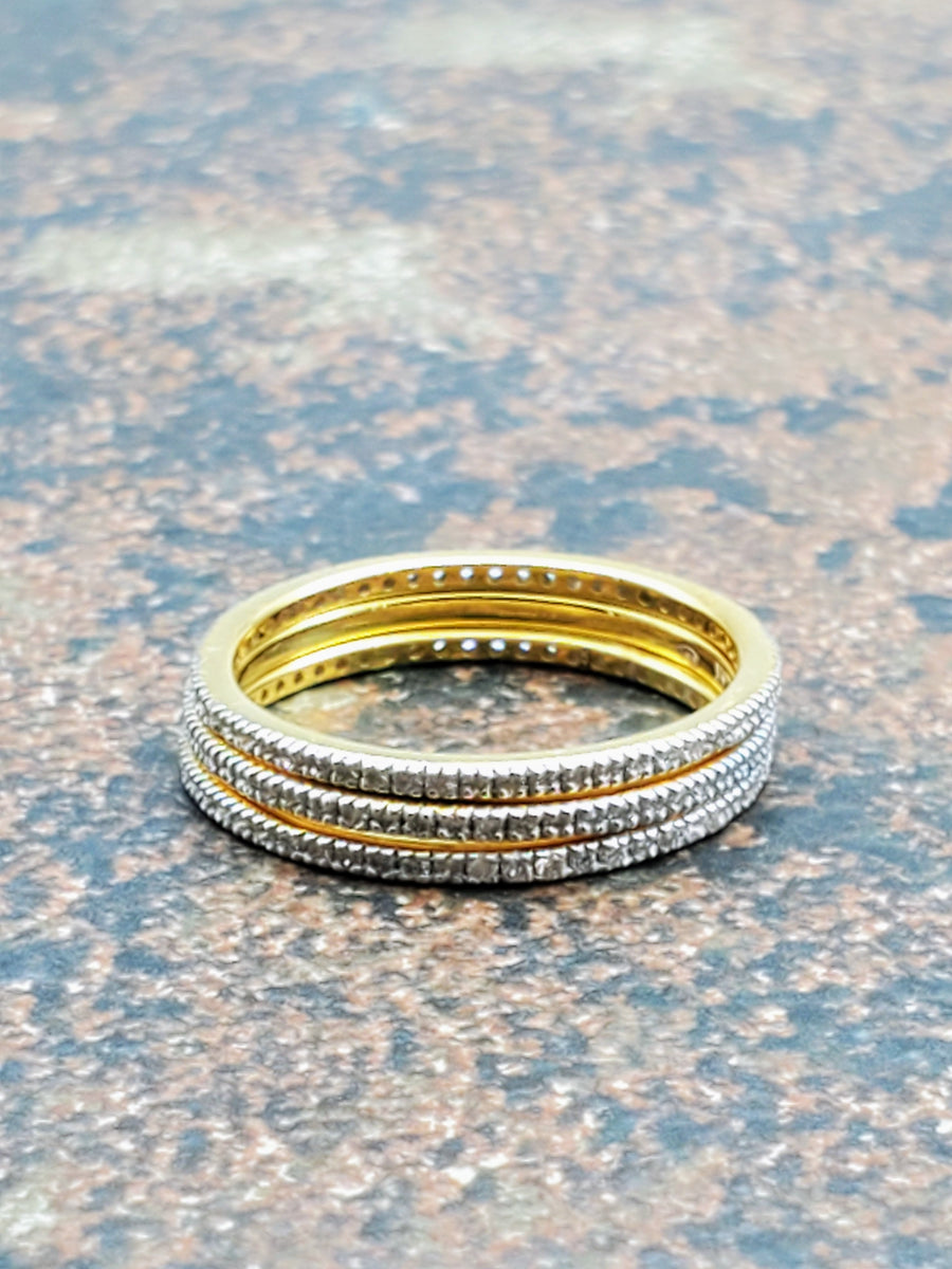 MICRO PAVE DIAMONDS GOLD RING