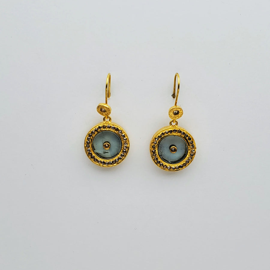 BERYL DIAMONDS GOLD SUN SYMBOL EARRINGS SONIA TONKIN