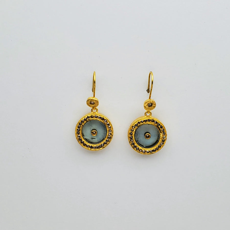 BERYL DIAMONDS GOLD SUN SYMBOL EARRINGS