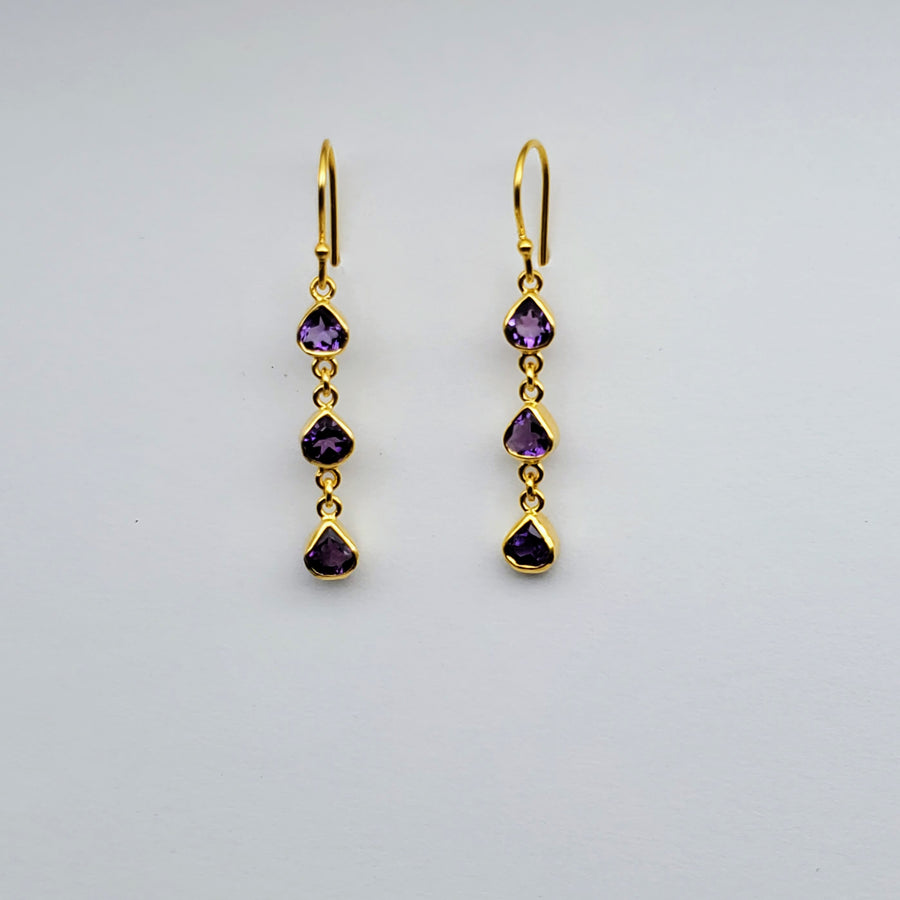 AMETHYST GOLD EARRINGS
