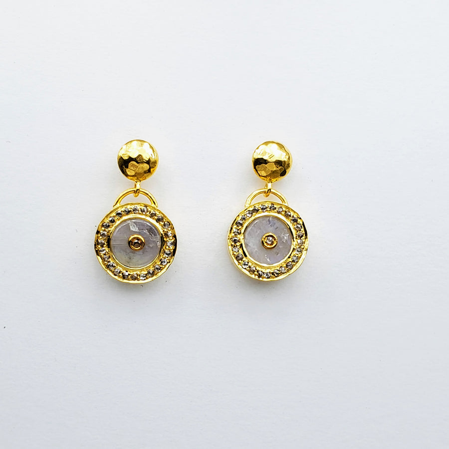 MOONSTONE DIAMOND GOLD SUN SYMBOL EARRINGS SONIA TONKIN