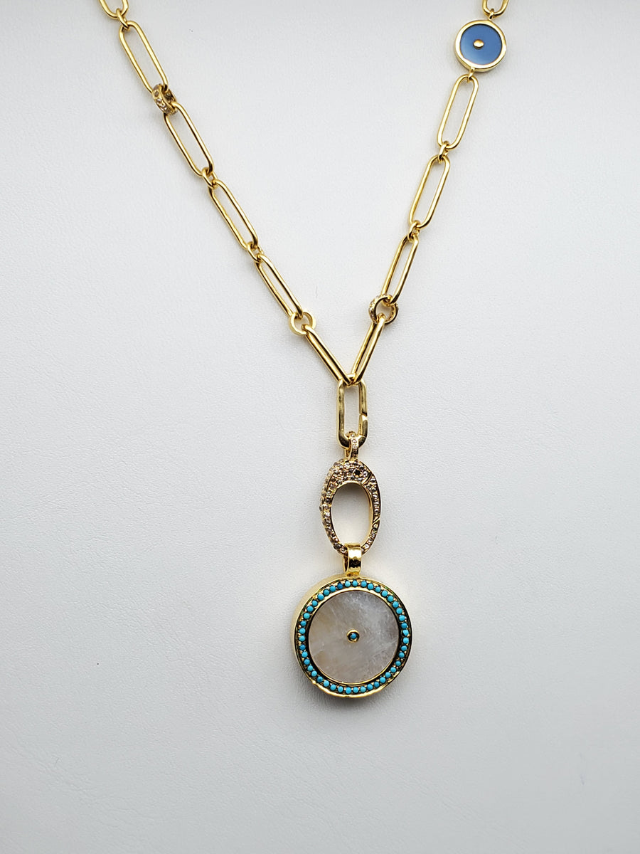 MOONSTONE DIAMONDS SAPPHIRES GOLD NECKLACE