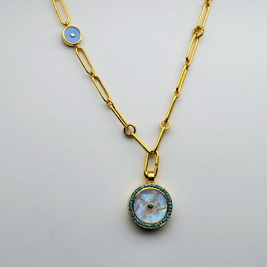MOONSTONE DIAMONDS SAPPHIRES TURQUOISE SUN SYMBOL GOLD NECKLACE SONIA TONKIN