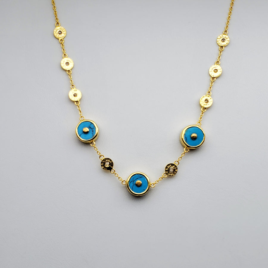 DIAMONDS TURQUOISE GOLD NECKLACE SONIA TONKIN