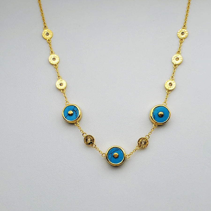 DIAMONDS TURQUOISE GOLD NECKLACE