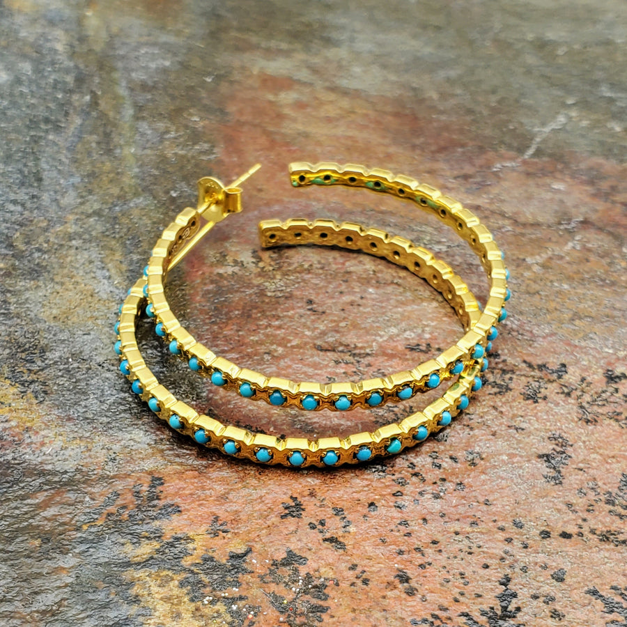 SLEEPING BEAUTY TURQUOISE GOLD HOOPS