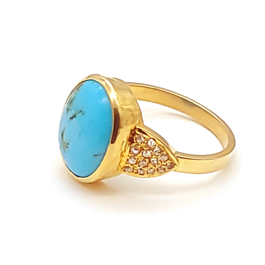 PAVE DIAMONDS TURQUOISE 14KT GOLD RING