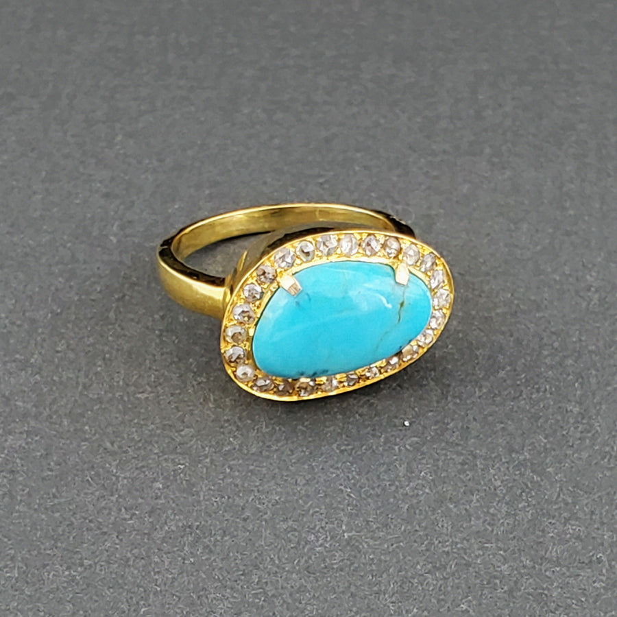 TURQUOISE DIAMONDS 14KT GOLD RING