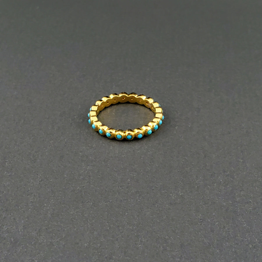 ROUND TURQUOISE 14KT GOLD RING