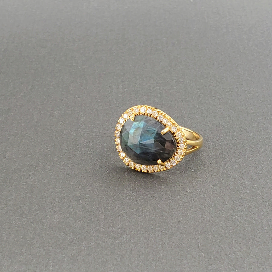 LABRADORITE PAVE DIAMONDS GOLD RING