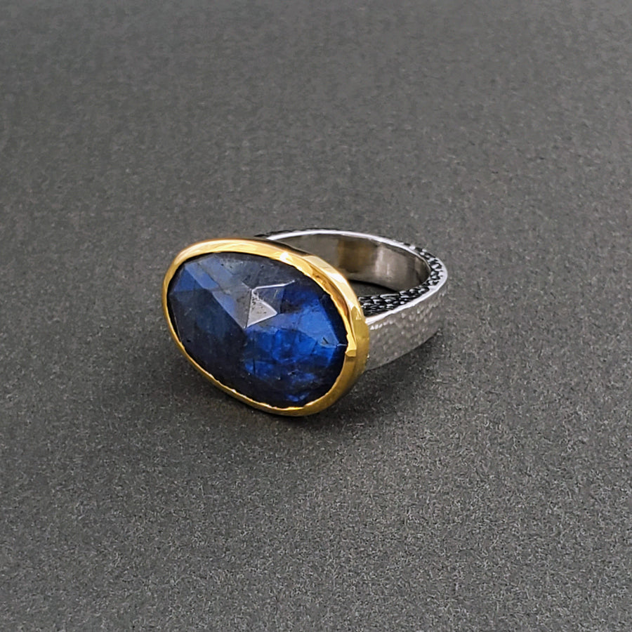 BLUE FIRE LABRADORITE GOLD RING