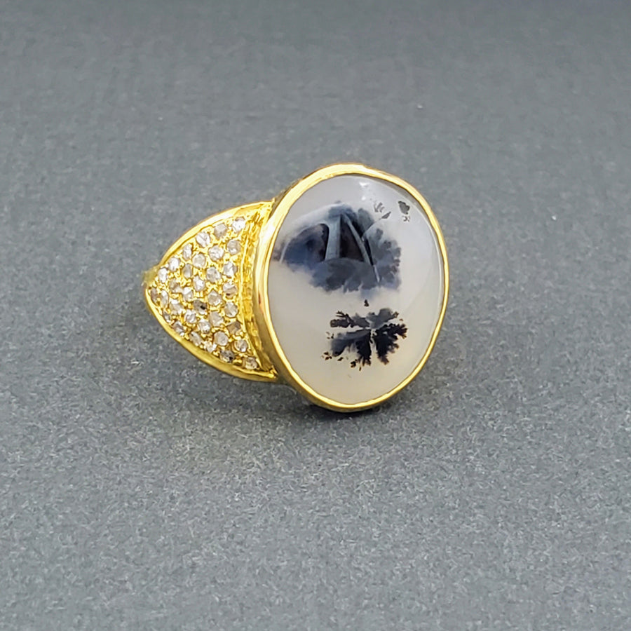 DENDRITE AGATE GOLD RING