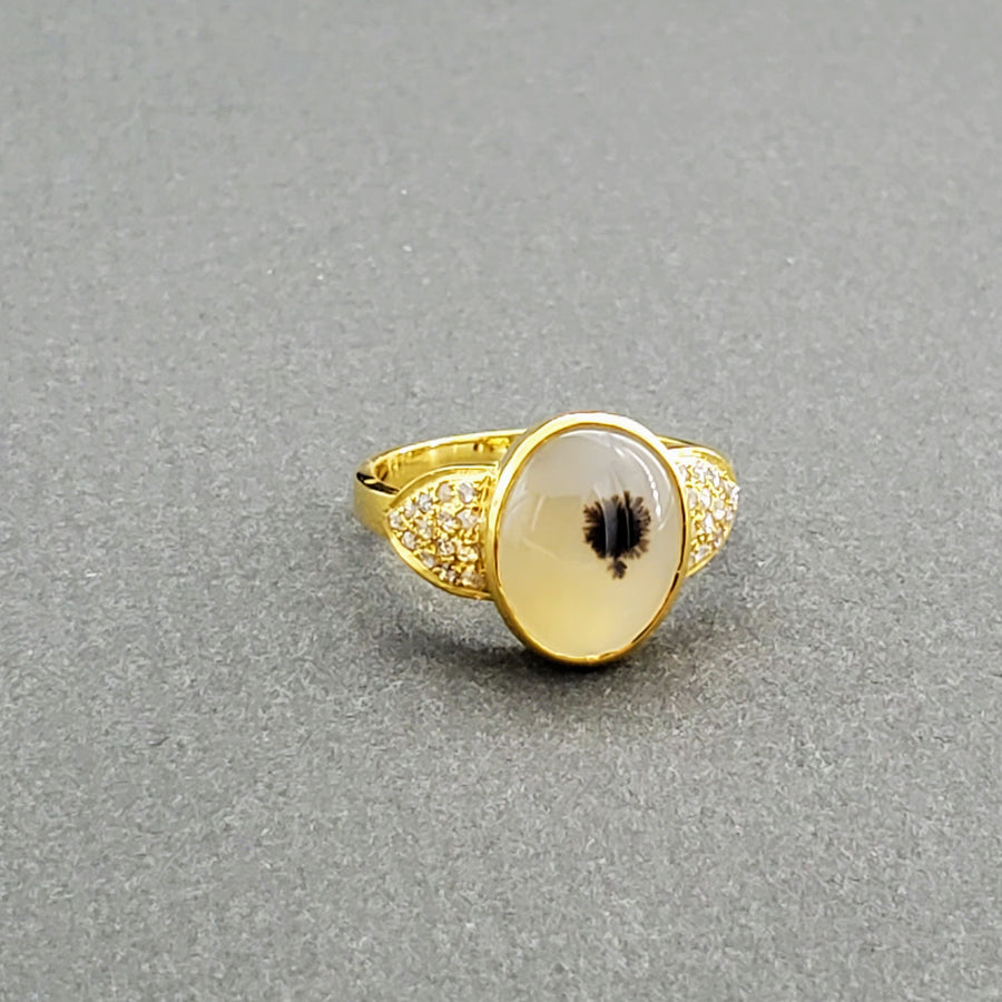 AGATE DIAMONDS GOLD RING