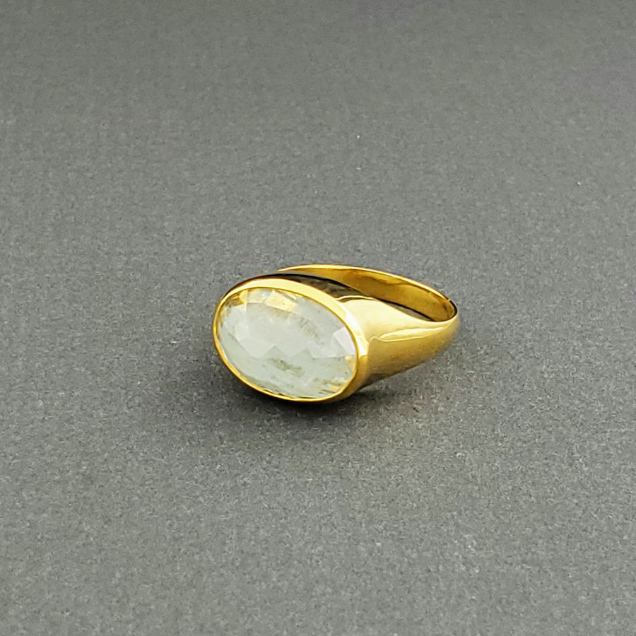 DOME AQUAMARINE GOLD RING