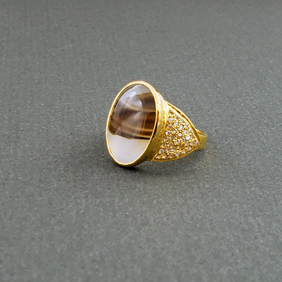 AGATE DENDRITE GOLD RING