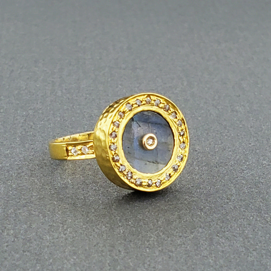 SUN LABRADDORITE GOLD RING