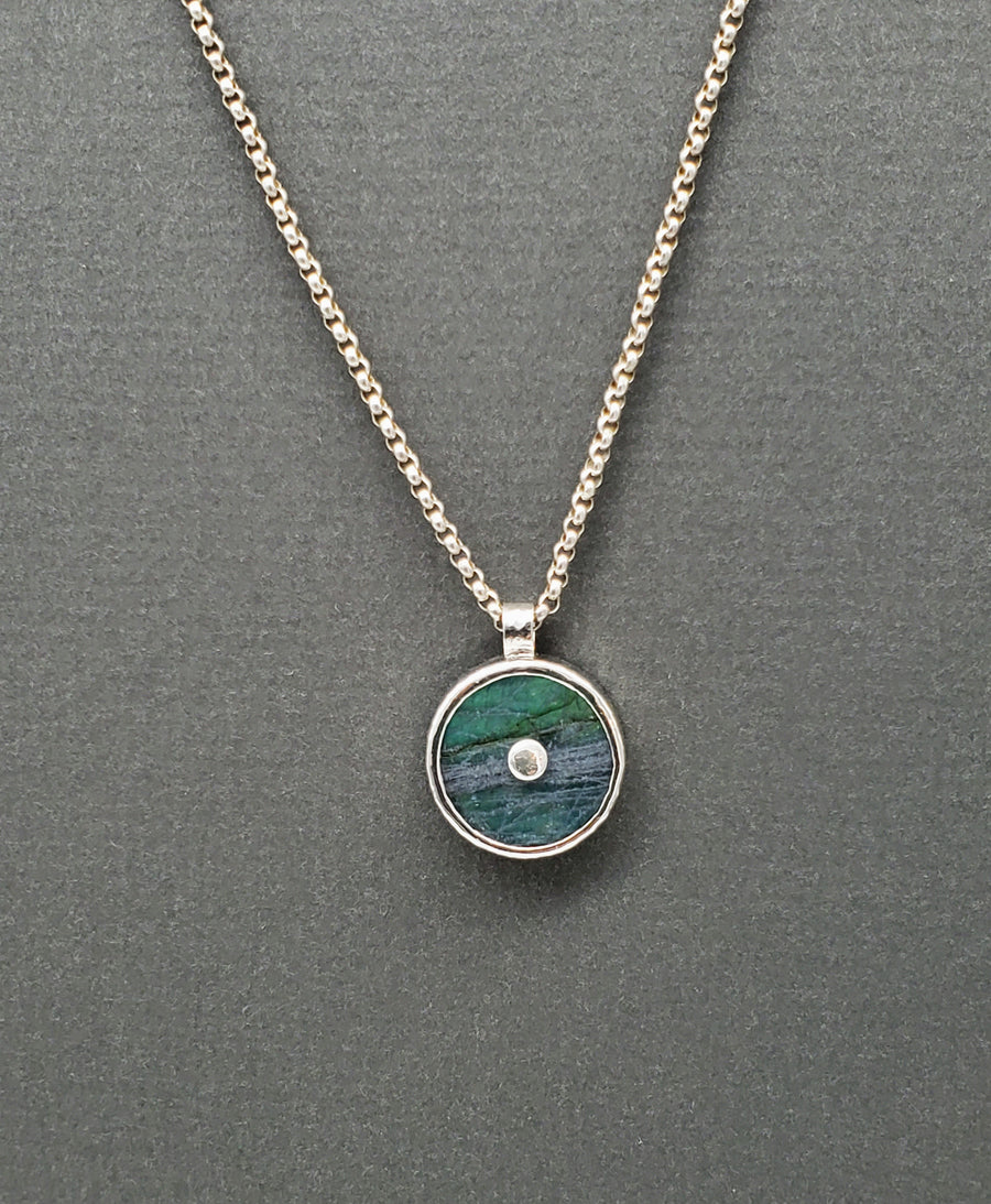 LABRADORITE SILVER SUN NECKLACE
