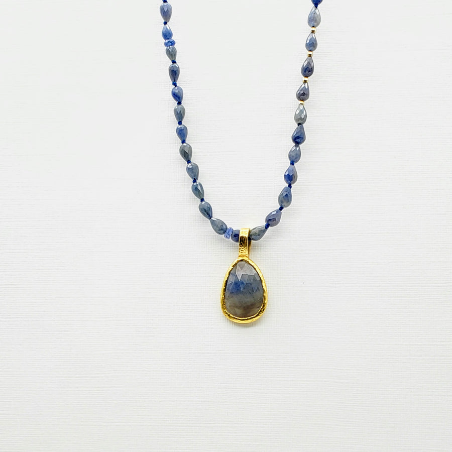 BEADED SAPPHIRES GOLD NECKLACE