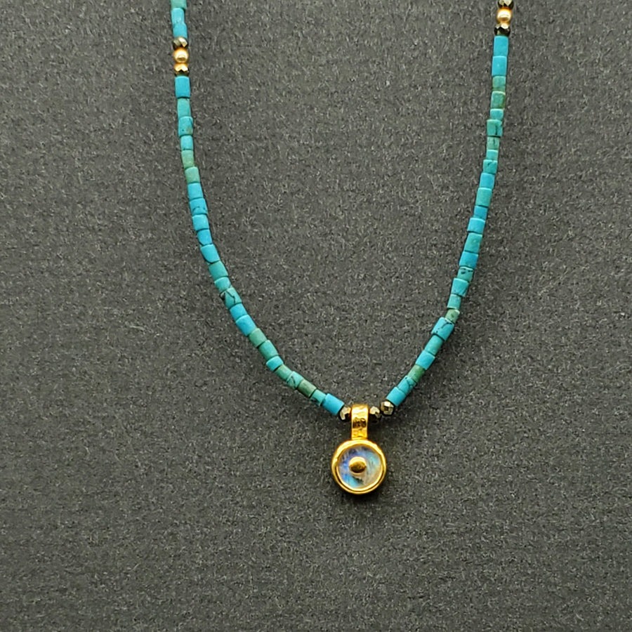 BEADED TURQUOISE MOONSTONE NECKLACE