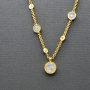 Moonstone Sun Gold Necklace with Diamonds