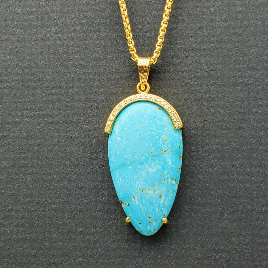 TURQUOISE DIAMONDS GOLD NECKLACE