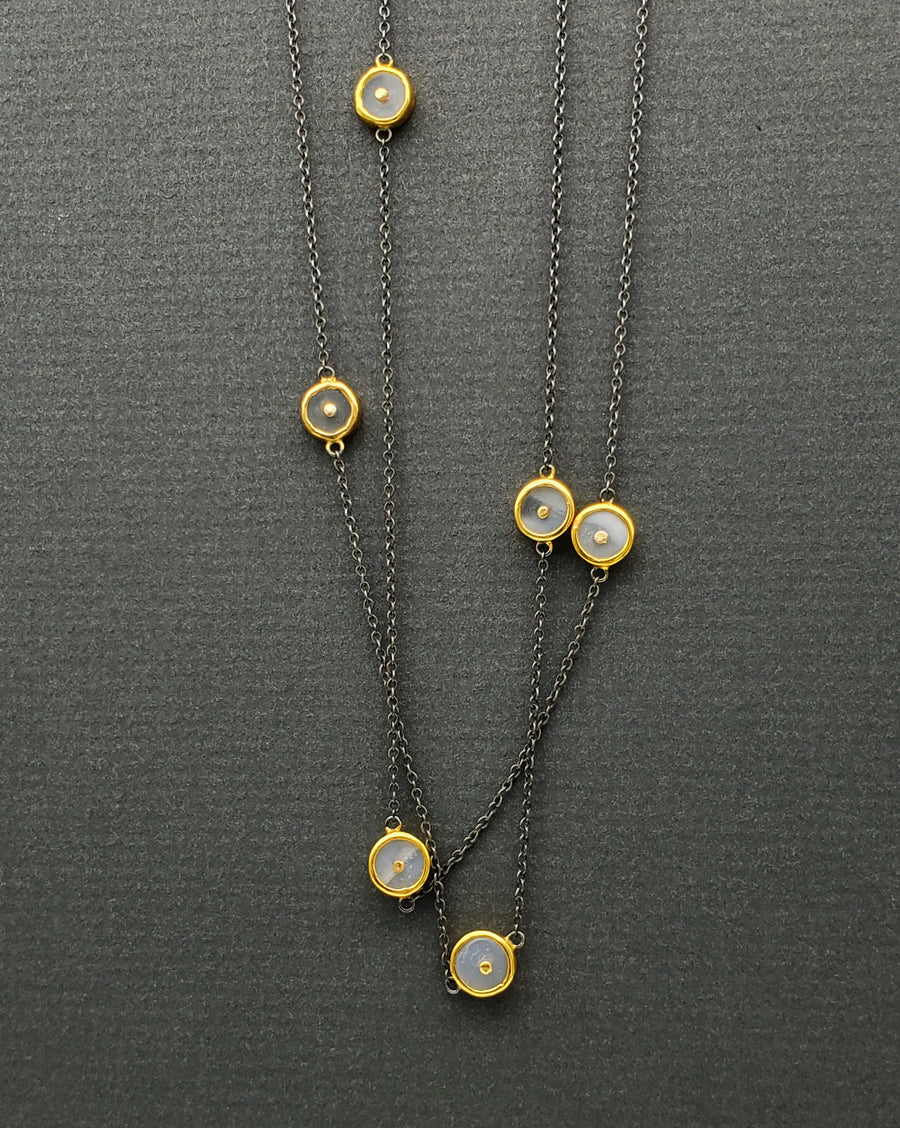 MOONSTONE MIXED METALS NECKLACE