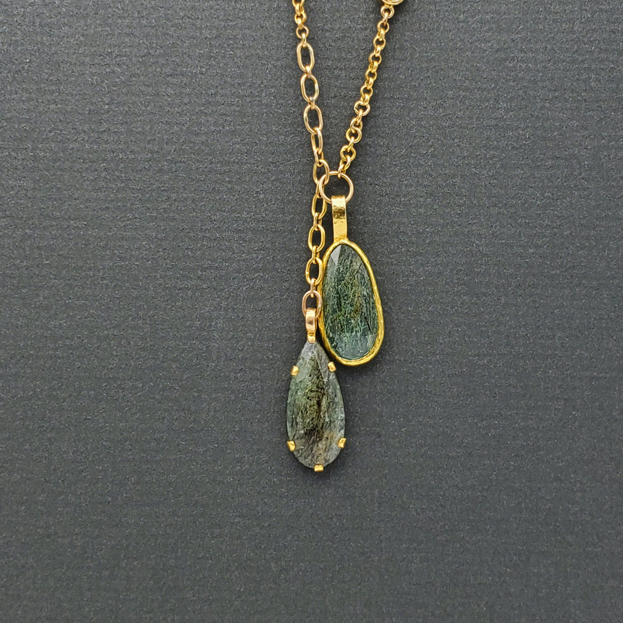 DOUBLE BERYL GOLD NECKLACE