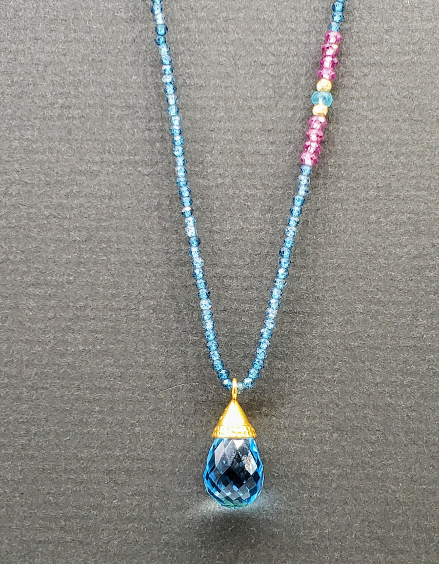 Blue Topaz Gold Beaded Necklace