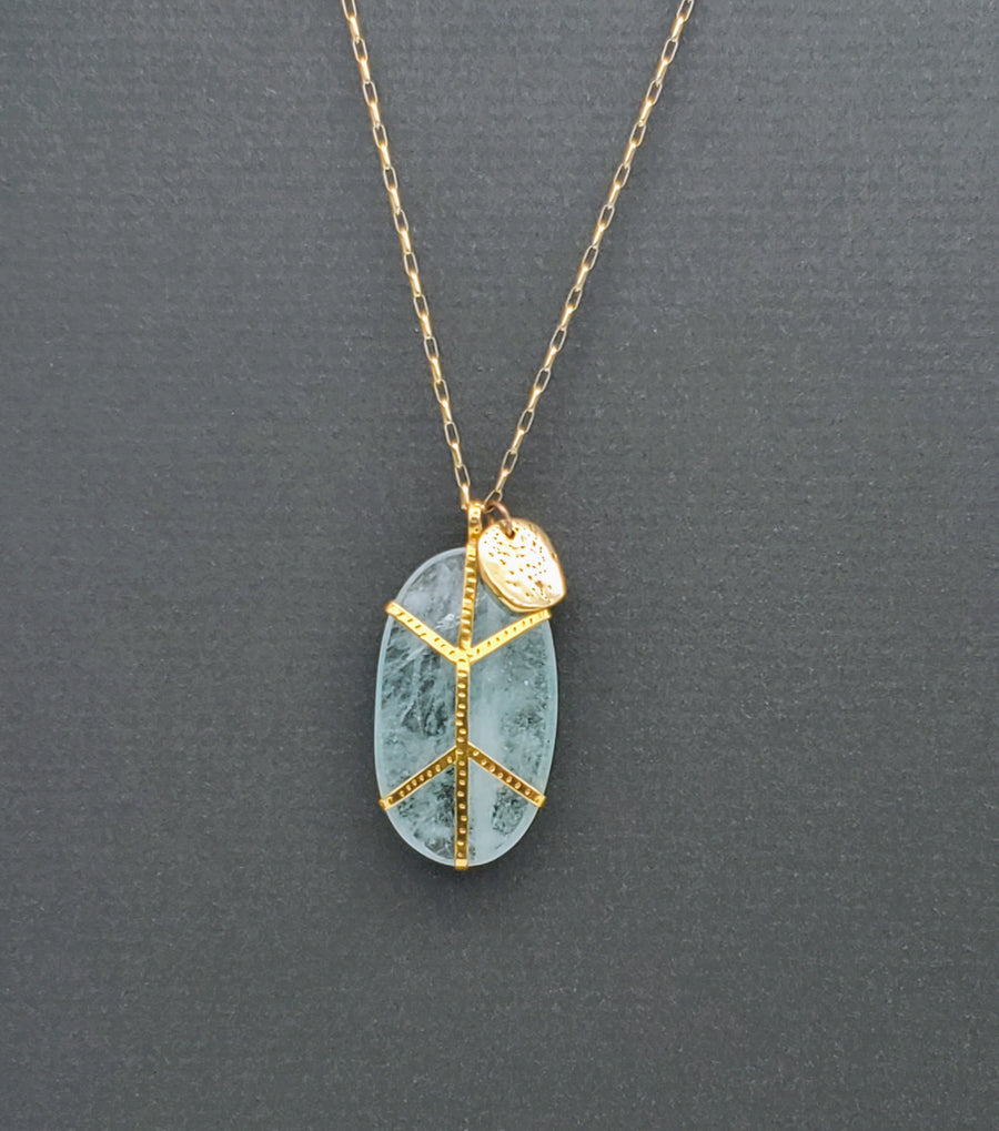 AQUAMARINE GOLD NECKLACE
